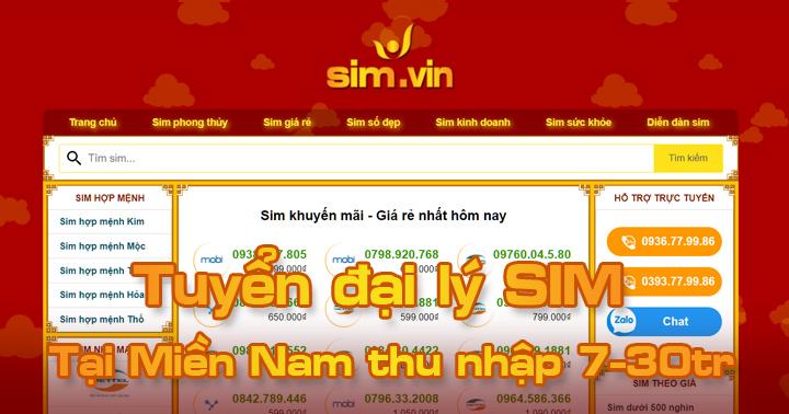 Sim.vin tuyển đại lý SIM tại Miền Nam, đăng ký ngay hôm nay để trở thành Đại Lý Sim Số đẹp lớn nhất tại Miền Nam của chúng tôi. Call ☎ 0936.77.99.86 #sim #dailySIm #Simdep