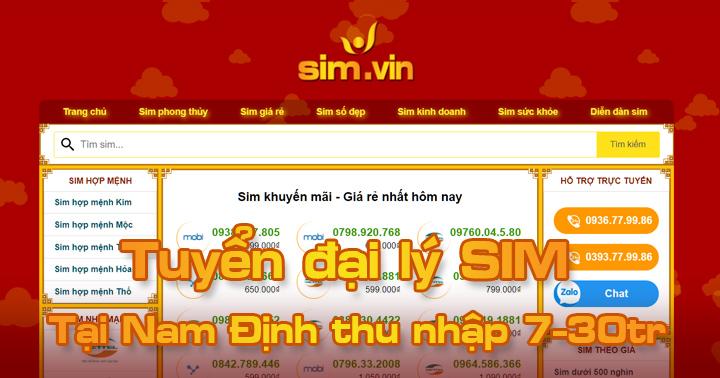 Sim.vin tuyển đại lý SIM tại Nam Định, đăng ký ngay hôm nay để trở thành Đại Lý Sim Số đẹp lớn nhất tại Nam Định của chúng tôi. Call ☎ 0936.77.99.86 #sim #dailySIm #Simdep